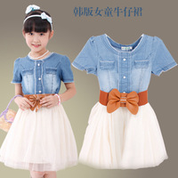 Free shipping wholesale high quality  Child soft water wash denim girls dress with belt jean dress