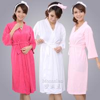 Fashion women kimono style soft terry towel bathrobe  for SPA and at home use
