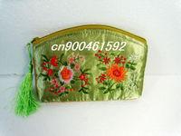 Free Shipping! Lot of 15 pcs beautiful CHINA Embroidery SILK PURSE coin BAG Women Lady flower Wallet/Purse Handbag makeup bag