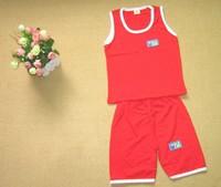 3 Sizes/Lot wholesale solid color cotton sleeveless vest suit pants suit baby clothing ((BGDT-008))