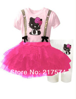 Hello Kitty Set Wholesale 5set/LOT 2013  Summer  Hello Kitty Dress+Legging Set /Hello Kitty Cartoon Clothing Suit tutu dress