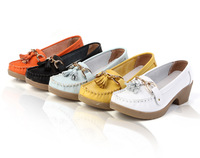 Spring and autumn women's shoes wedges genuine leather cow muscle outsole mother shoes casual shoes single shoes