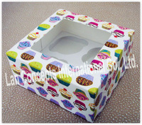 Free shipping Paper Cupcake Box Baking packaging Muffin Box with window & insert - 4 cups 30pcs/lot C0032