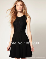 The Audrey Hepburn classic little black dress stitching classic atmospheric waist lace waist was thin dress,free shipping