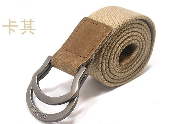 New arrival men&#39;s belt canvas belt with double buckle factory supply wholesale(China (Mainland))