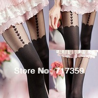 On Sale 1pc Pretty Sexy Lady Black Suspender Heart Pantyhose Tights Stockings +Free Shipping  651106
