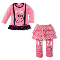 Hello Kitty Set Wholesale 5set/LOT 2013 Hello Kitty Tshirt +Skirt With Long Pants  Clothing Set twinset Cute Tracksuit  5pcs/lot