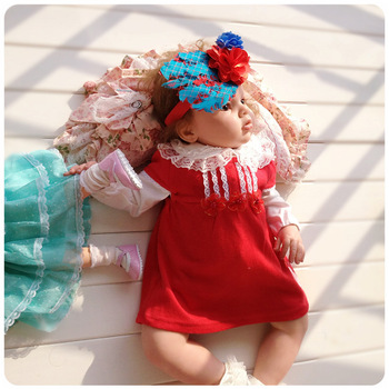 2013 spring european version of the female child infant princess dress formal dress 100% cotton one-piece dress