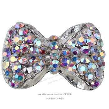 free ship 10 pieces/pack 3D Colored Stone Thick Round Bowtie Alloy AB rhinestone Nail Art iphone mobile Glitter Decoration