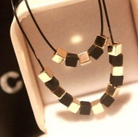 Hot Sale fashion elegant gold & black square double layer black rope short necklace vintage jewelry for women