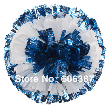 "cheerleading Pom poms 3/4""x 6""~Three Color Bullseye zebr silver blue with plastic white custom color mini order 10 pieces"