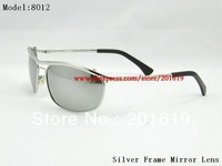beach sunglasses Silver Frame Mirror Lens sunglasses 8012 Man's sunglasses Unisex sunglasses Woman's sunglasses  glasses