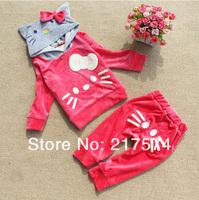 WholesaleHello Kitty Girls Long SleeveTracksuits Children Velvet Kitty cat sport suits Girl's cat Hooded sweater + cat pp pants