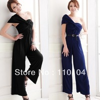 2013 Fashion Woman Cotton Blended Loose Jumpsuits Lady&#39;s Dress Single Shoulder Woman Dress Free Shipping