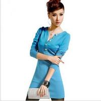 2013 spring and summer long-sleeve dress women V-neck slim fashion elegant slim hip plus size one-piece dress female