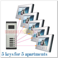 Lcd video door phone intercom/intercom system video door phone ( 5 keys camera+5pcs 7inch color monitor ) Drop Free shipping