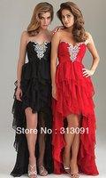 2013 Newest Hot Free-shipping Red Chiffon Fashion Prom Dress W0512