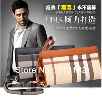 2013 New style , Men bag, Leather Clutch Bag for Men, Plaid, Fashion and  Casual, LAODIVISI 13813-03.