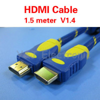 wholesale 30PCS/lot High speed v1.4 hdmi cable 1.5m 5ft with nylon mesh&dual ferrite cores supports hdmi ethernet,3D&blue ray