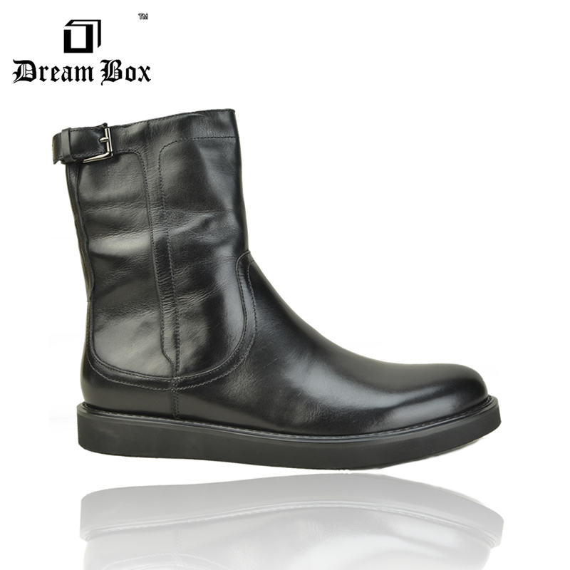 Free shipping autumn winnter Villus leather mens boots tall(China (Mainland))