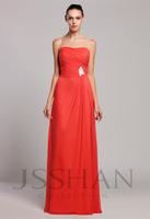 12B023 Strapless Ruching A-Line Chiffon Luxury Unique Elegant Brilliant Prom Gown Bridesmaid Dress Bridesmaid Prom Dress