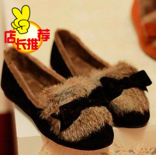 Rabbit fur shoes! Korean version of the 2012 autumn and winter new plush shoes Butterfly knot doll flat shoes Women's shoes flat(China (Mainland))