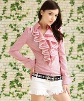 Autumn red and white stripe ruffle elegant slim women's long-sleeve shirt office blouses 3