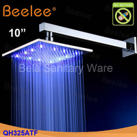 Free Shipping 10 Inch Chromed Brass Square LED Bath Rain Shower Head QH325NF
