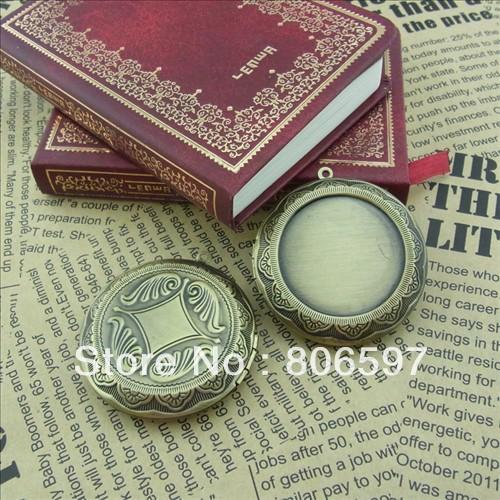 Free shipping(12pieces/lot)antique bronze European retro round cabochon studded blank prayer box photo locket jewelry I12A(China (Mainland))