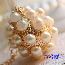 New Hot Sell Fashion Long Style Pearl Ball Exquisite Necklace Coat Chain LKX0060 Free Shipping(China (Mainland))