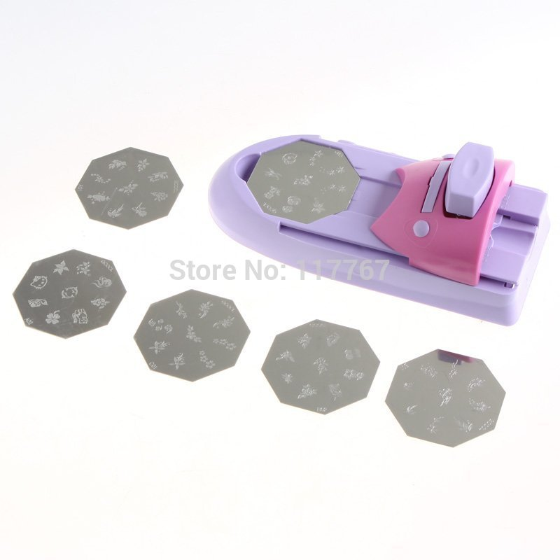 Free Shipping New DIY Nail Art Printing Machine Polish Stamp 6Pcs Template Kit 600274(China (Mainland))