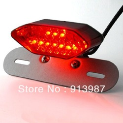 Free shipment 12V Amber Red Motorcycle Brake Tail Light Turn Signals Lamp Integrated Number License Plate Frame Bracket Silver(China (Mainland))