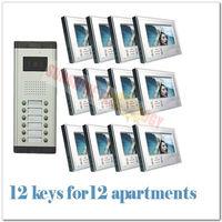 "phone unlocking system/access control systems/video door phone intercom ( 12 keys camera+12pcs 7""color monitor ) Free shipping"