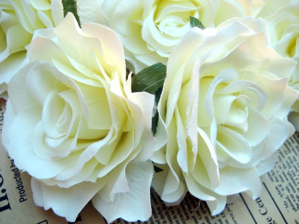 50piece White Rose Artificial Silk Flower Heads Wedding Wholesale Lots