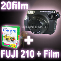 Polaroid Fuji Fujifilm Instax 210 Camera ( Original Black ) + 1 packs Instant Wide Film ( 20 sheets plain photo )(Hong Kong)