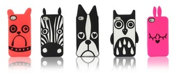 1pcs retail 2013 New arrival Marc Creatures Silicone Case for iPhone 4 4s with retail package,owl cat dog case free shipping(China (Mainland))