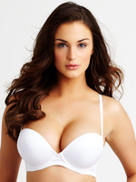 H124 2 Cups + Smooth Huge Gel Pad Top Cleavage Push up Strapless Bra intimates Black White Beige 32 34 36 38 A B C D