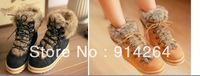 New Women's Retro Fur Winter Warm Flat Shoes Platform Ankle Boots Lace Up Preppy /free shipping +trackingnumber