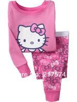 Hello Kitty Pajama Set Wholesale 6sets/LOT Hello Kitty  Baby Sleepwear suits Shirts + pants /long sleeve Underwears sets 2917170
