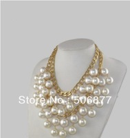 Free Shipping Hot Sale! 2 Broke Girls Caroline Inspired Cream Shell Pearl Pendant Necklace Gold Plated Chain Vogue Frontier