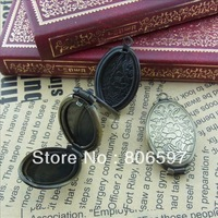 Free shipping(12pieces/lot) DIY antique bronze European vintage style brass double oval prayer box photo locket jewelry L5A