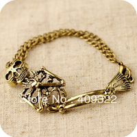 Min.order $10,Mix order Vampire diaries wind skeleton metallic super cute beauty fan retro bracelet 11 g free shipping