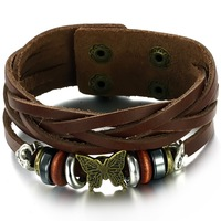 Wholesale 2014 Fashion Jewelry Oxhide Cow Punk Leather Bracelets Bangle Layers Knitted Rope Butterfly Charms Men Bracelet