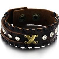 Wholse Sale Accessories Vintage Jewelry male bracelet rivet buckle genuine leather bracelet cowhide men bracelet