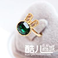 (Min order is $10) E1166 accessories sea blue full rhinestone gem rhinestone exquisite rabbit ring opening