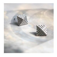 (Min order is $10) E2116 queer accessories woven pattern personality vintage roughly square stud earring