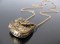 (Min order is $10) E4254 cool fashion vintage exquisite carved metal bags necklace