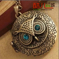 (Min order is $10) E4181 queer accessories vintage owl circle with box necklace