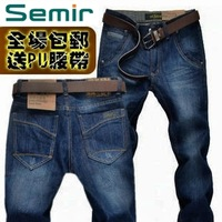 2013 male jeans SEMIR men's clothing straight spring male slim long trousers male
