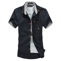 Men's clothing british style casual shirt male short-sleeve shirt slim Men shirt